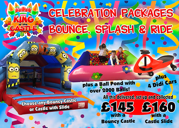 Bouncy Castle with Slide, Ball Pond and Didi Cars Party Package