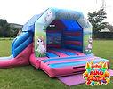Unicorn Bouncy Castle with Slide Hire