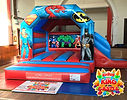 Super Heroes Bouncy Castle with Slide Hire