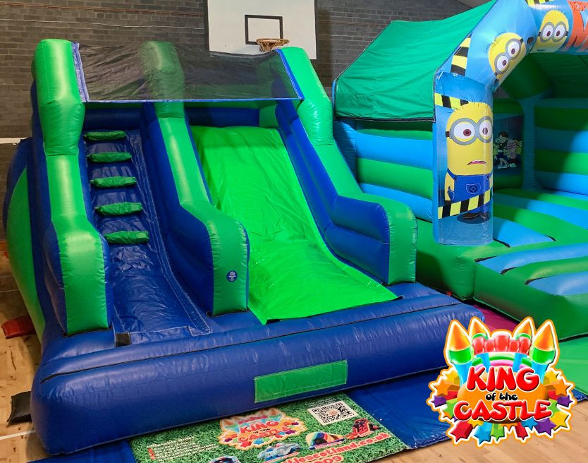 Green and Blue Inflatable Slide