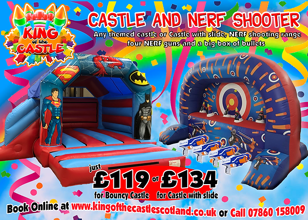 Bouncy Castle and NERF shooter Party Package