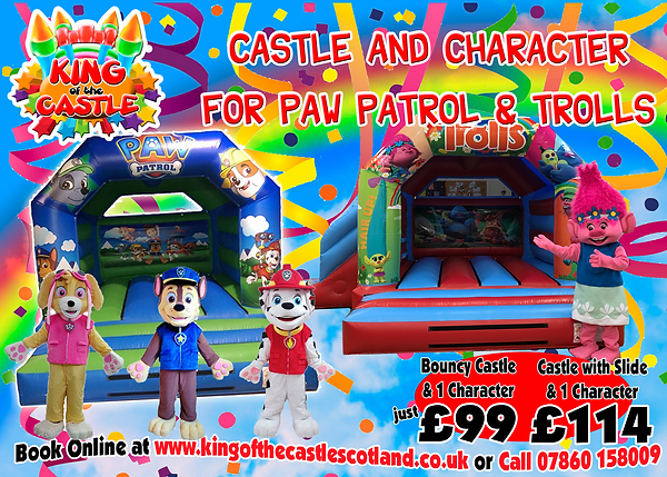 Bouncy Castle and Character Packages in Fife, Kinross, Dunfermline, Kirkcaldy