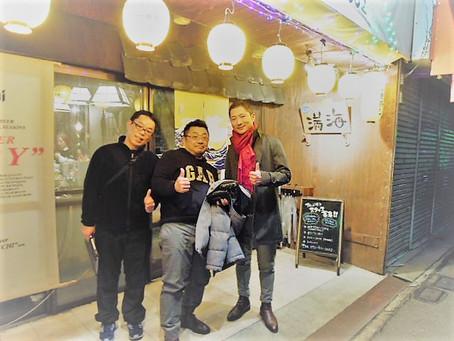 三人で串カツ屋へ。Three of us.