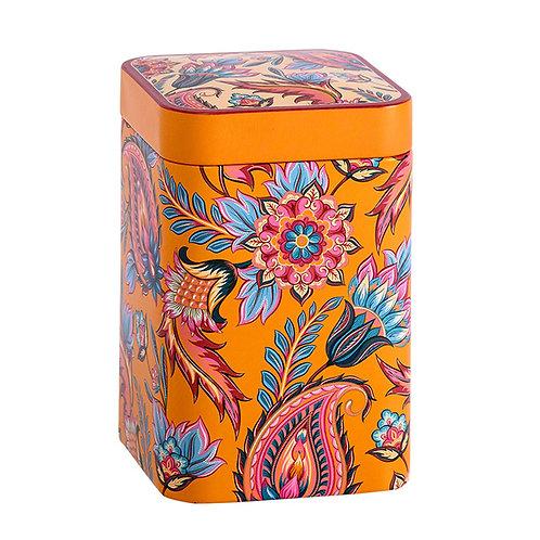 """Boîte à thé """"Fleurs de feu"""" orange"""