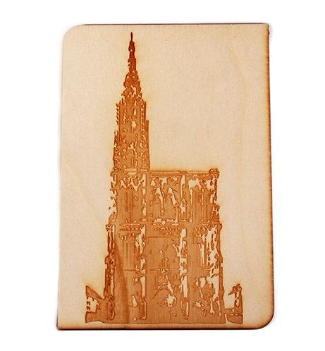 Carte postale en bois cathédrale de Strasbourg