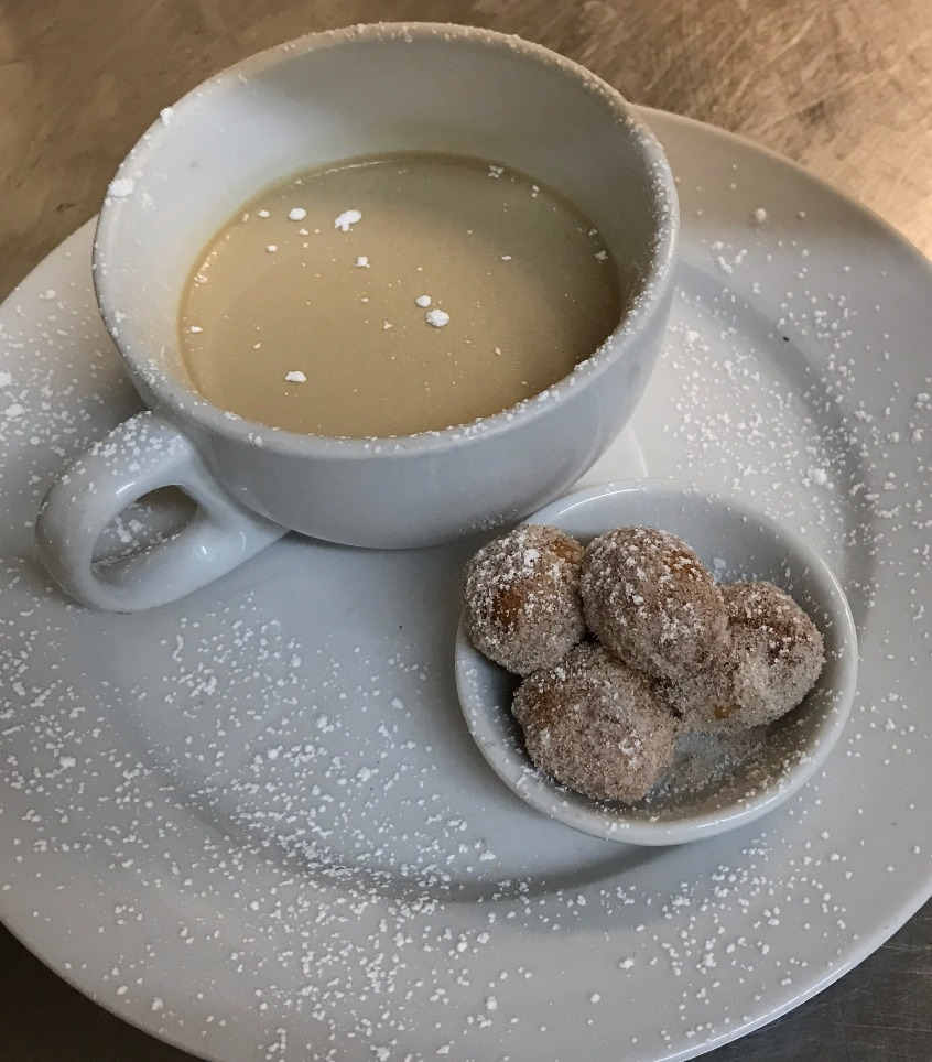NYE - Coffee panna cotta w' cinnamon dusted doughnuts