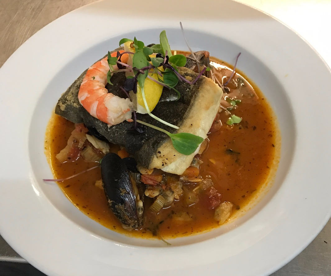 NYE - Fillet of halibut & seafood broth