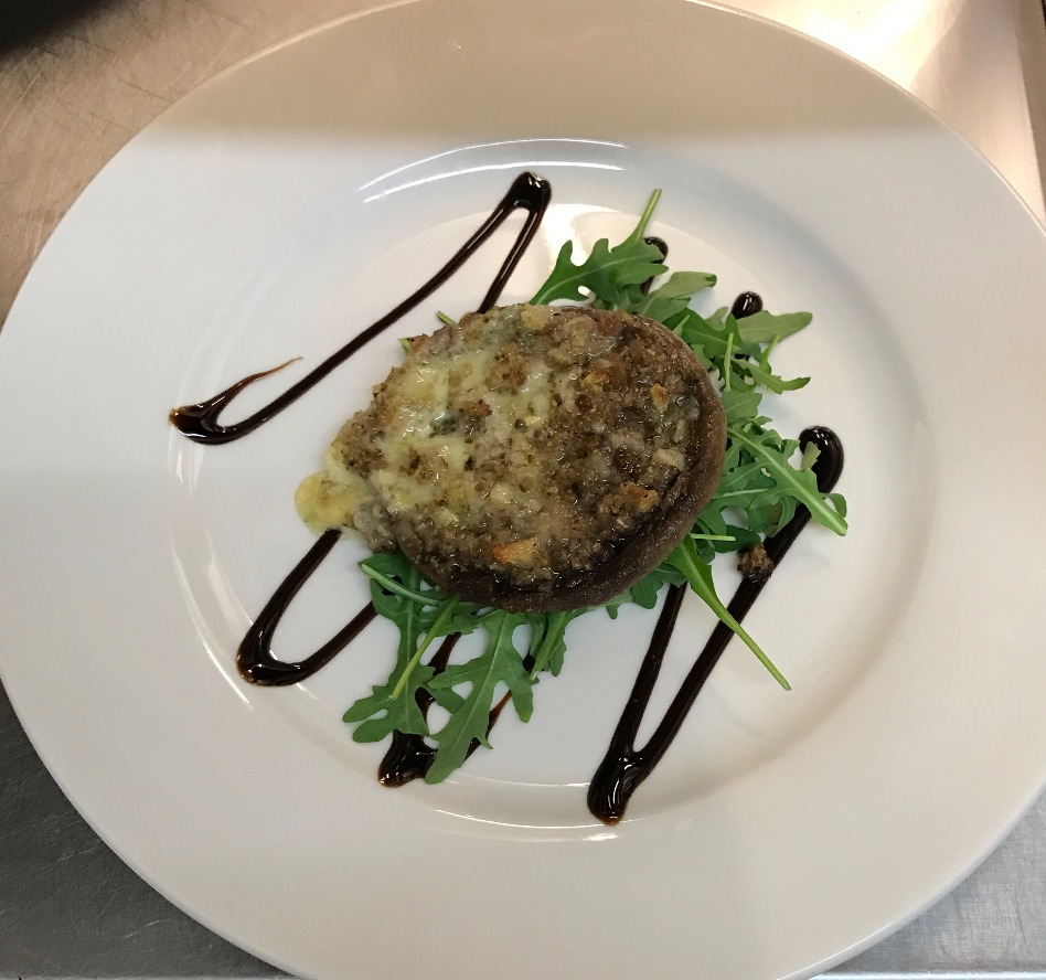 NYE - Blue cheese stuffed portobello mushroom