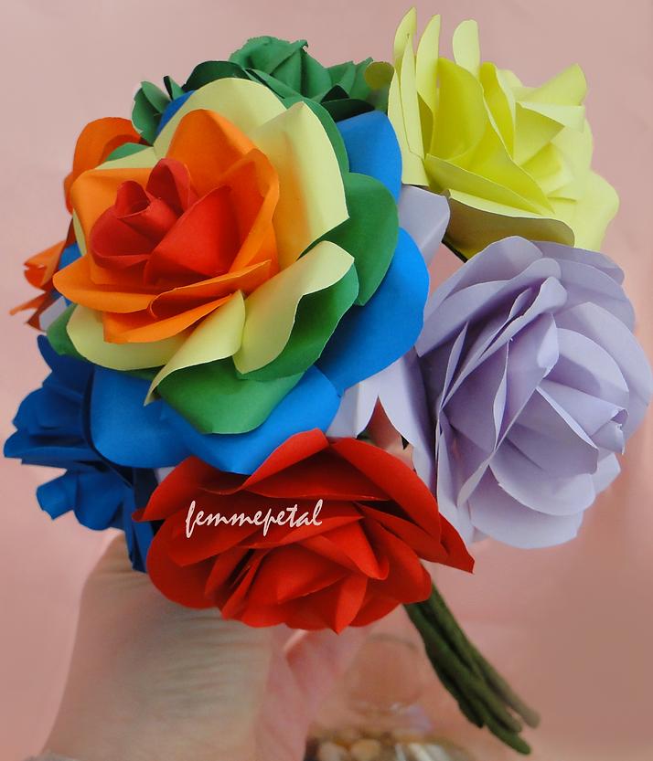 Paper flower shop uk femme petal the paper florist femme petal paper flowers uk paper rose bouquet rainbow bouquet rainbow rosesg mightylinksfo