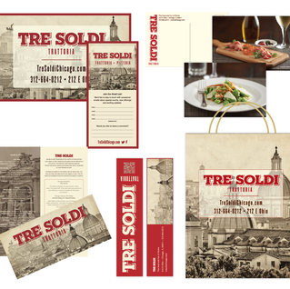 Multi collateral pieces for restaurant opening.