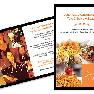 Postcard Promotion for Coco Pazzo Restaurant