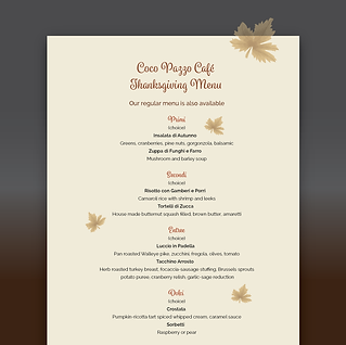 Thanksgiving menu design for PR