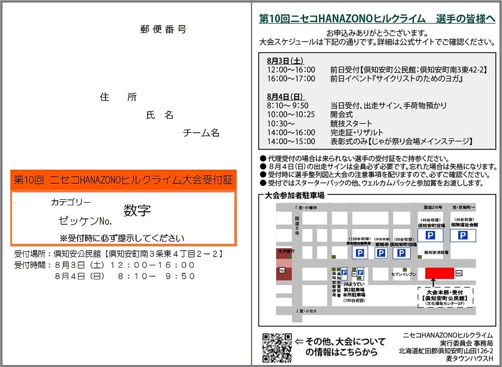 第10回ニセコHANAZONOヒルクライム大会受付証(例)
