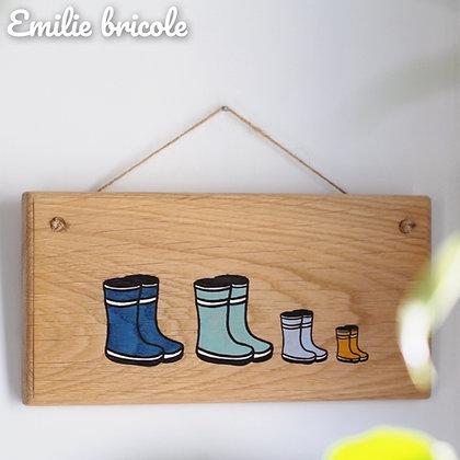 Panneau famille de 4 paires de bottes