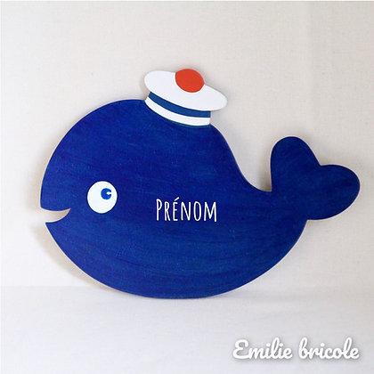 Plaque de porte baleine bleue