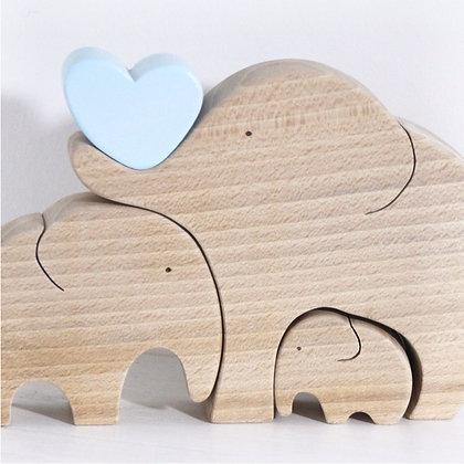 Famille de 3 éléphants avec coeur