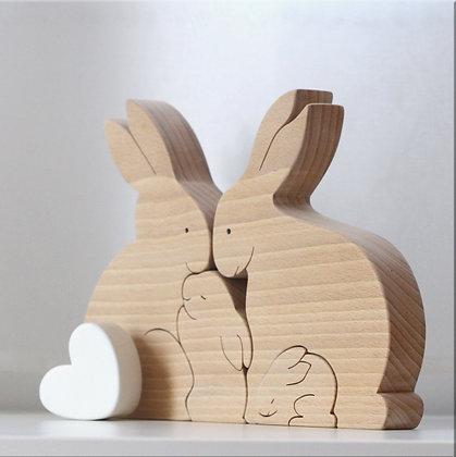 Famille de 4 lapins avec un coeur