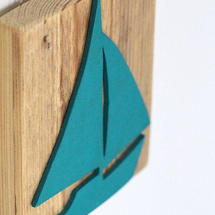 Petit Tableau Bateau Turquoise