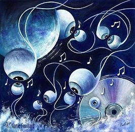 Peinture à l'encre colorée dans un camaïeu de bleus. Danse et musique les yeux dans les yeux. C'est une love song.
