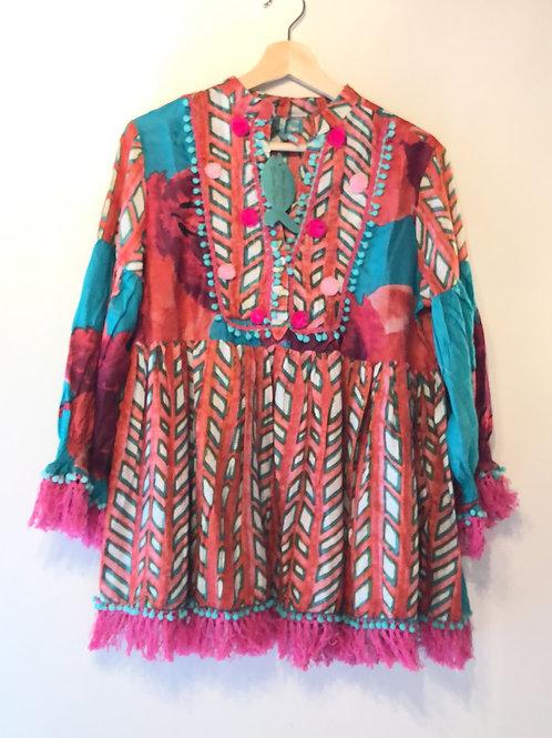 Antica Sartoria pink and teal tunic fringe top