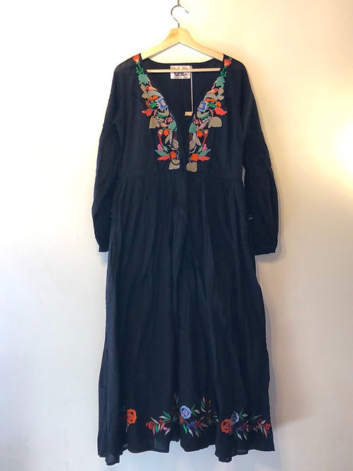 Black Ukraine inspired black cotton embroidered dress