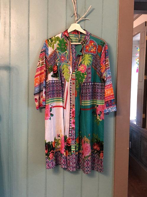 Antica Sartoria cotton floral patchwork shirt dress