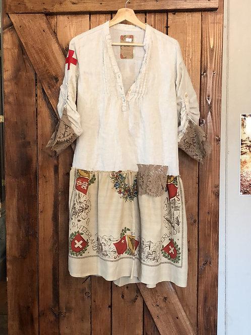 Switzerland upcycled linen flag tunic dress