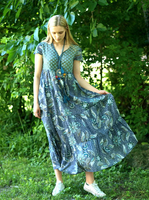 Tamina indigo blue green cooton gauze floral maxi dress
