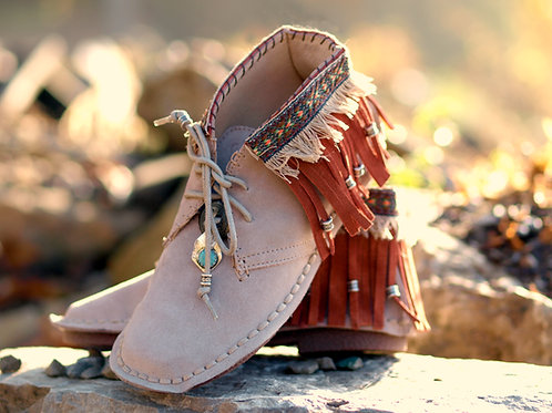 leather suede fringed Indian tribal moccasin