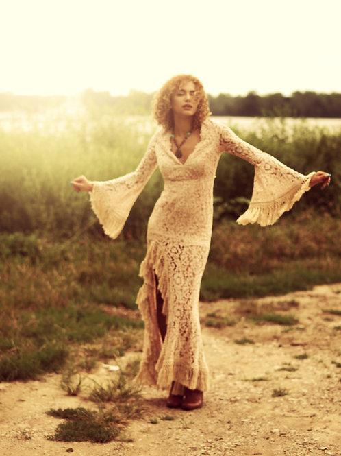 Ibiza fringe maxi dress