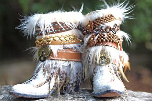 Custom White vintage feathered boho COWBOY Boots