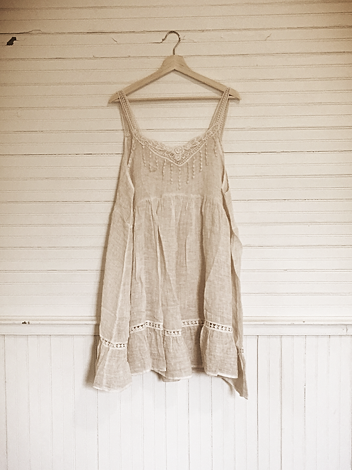 Greta beige linen sleeveless dress