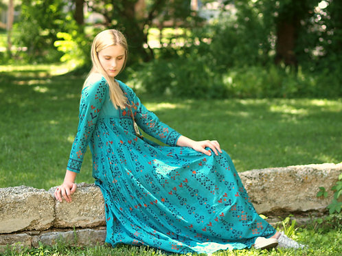 Woodstock embroidered long sleeve Maxi dress in teal cotton