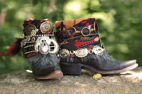 Custom Steampunk vintage Black Cowboy Boots