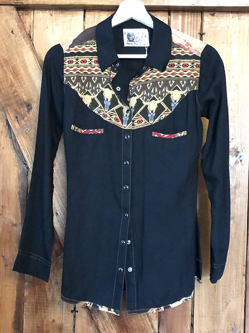 Black western cow skull blouse