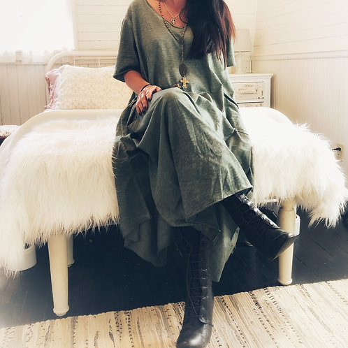 Helen - green shabby cotton maxi dress