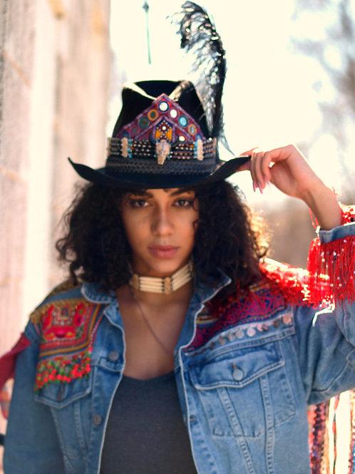 Bohemian Embellished Upcycled Cowboy Hat