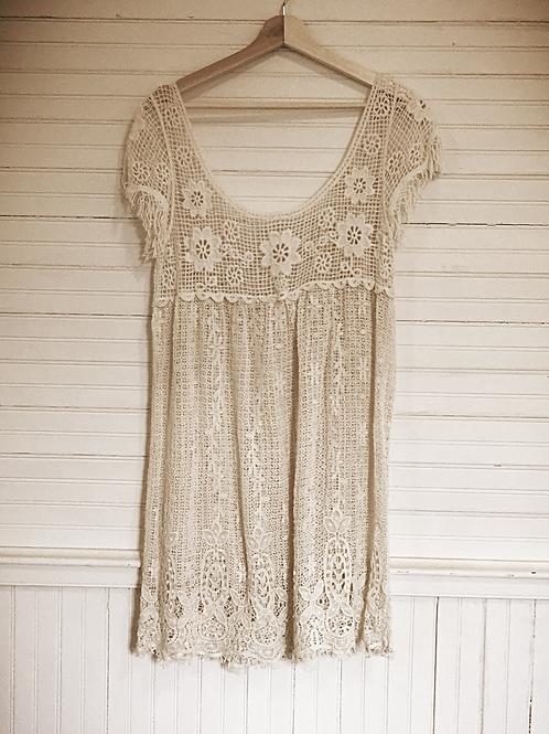 Cotton lace cream tunic beach cover
