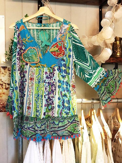 Antica Sartoria cold shoulder cactus blouse