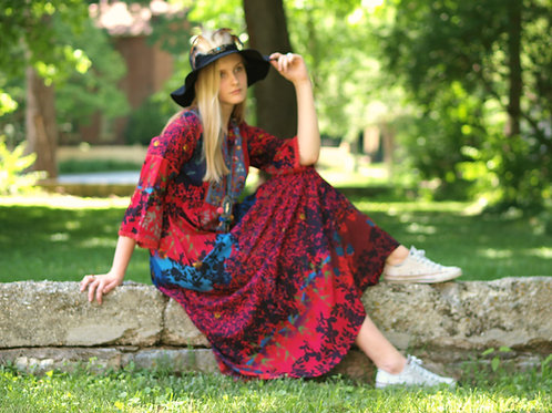 Heidi red cotton embroidered folk floral bell sleeve maxidress