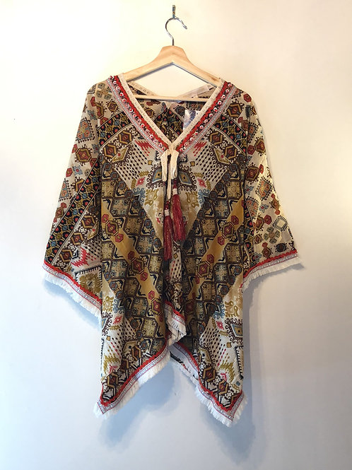 Tribal brown cotton poncho top