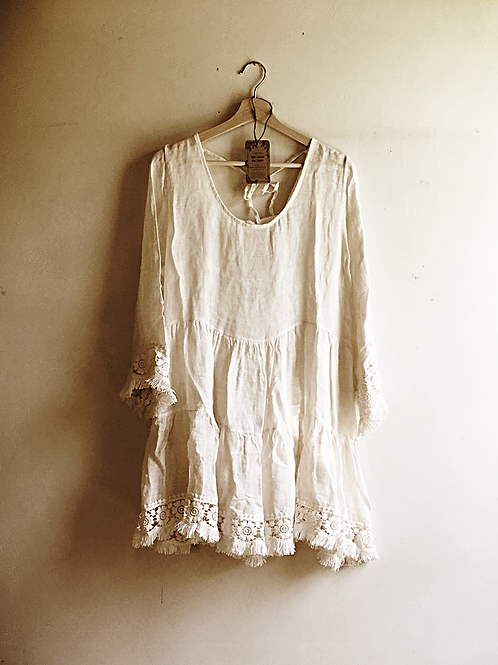 Ange cream 100% linen fringe tiered dress