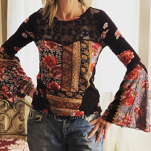 Patchwork print bell sleeve top