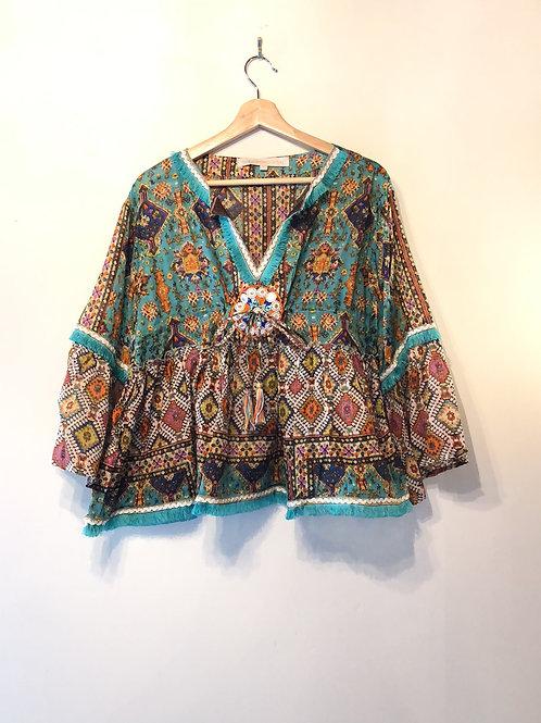 Tribal cotton green boho tassel shell tunic