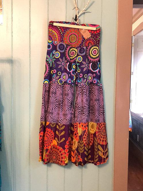 Cotton tiered palazzo pants - purple