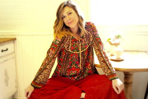 Heidi brown floral hippie tunic