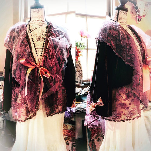 Purple velvet asymmetrical cropped lacy jacket