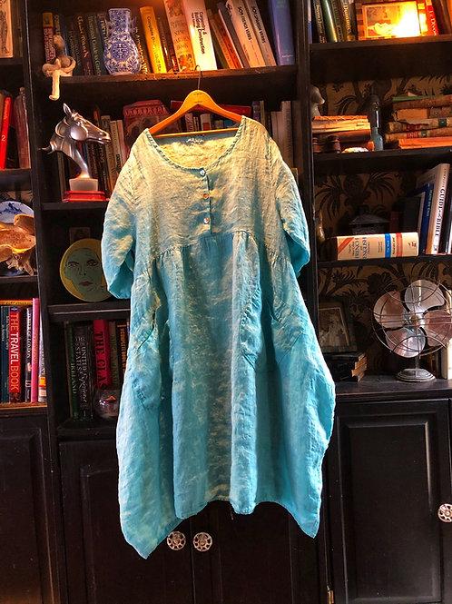 Aqua linen peasant dress