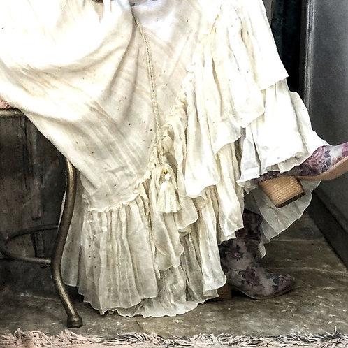 Long shabby boho cotton European ruffle maxi skirt