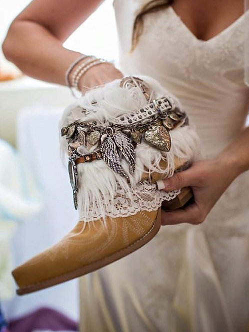 Custom BRIDAL Upcycled vintage COWBOY BOOTS